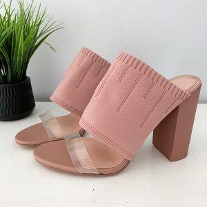 Zara • nude high heel mules